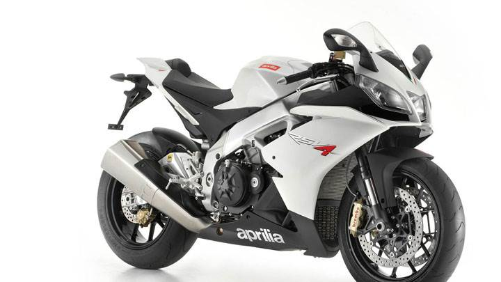 Aprilia RSV4 in White Side Front Pose And White Background