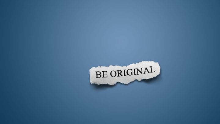 Be Original On Blue Background