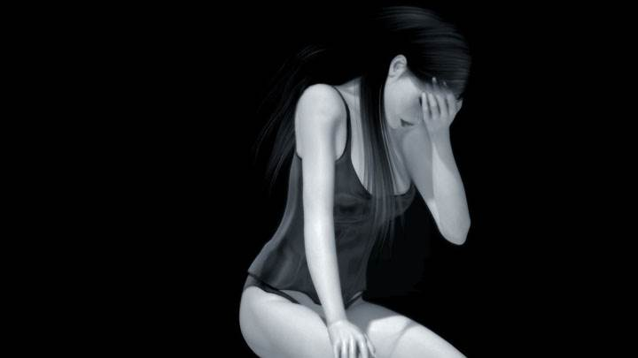 Black And White 3d Sitting Girl And Black Background