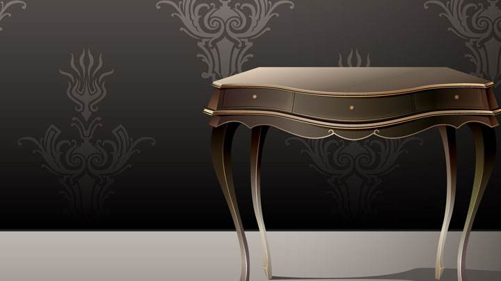 Brown Table And Black Wallpaper