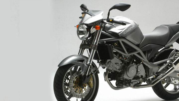 Cagiva Raptor 650 Side Pose in Silver Color