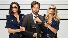 Californication – David Duchovny with Two Police Girls in Black Coat