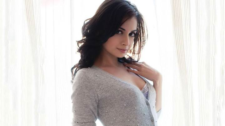 Dia Mirza In Grey Top Looking At Camera Photoshoot
