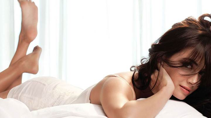 Dia Mirza In White Dress On Bed