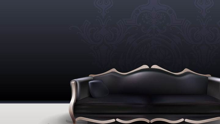 Digital Interior – Black Sofa With Black Background
