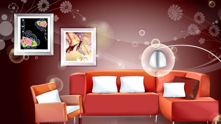 Digital Interior – Red Sofa And Picture Frames