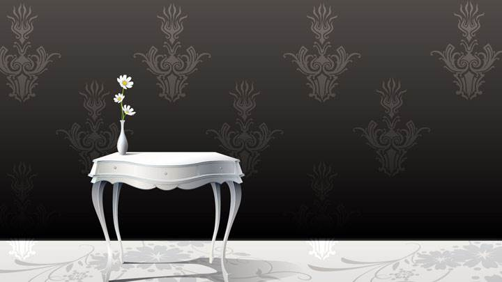 Flower Vase on White Table And Black Designing Background