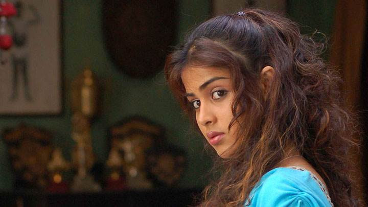 Genelia D'souza Sad Side Face In Blue Dress