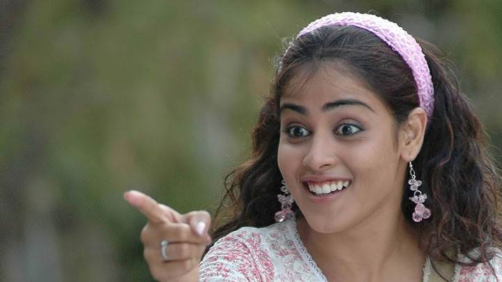Genelia D'souza Smiling In White And Pink Dress