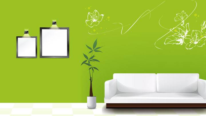 Green Background And White Sofa