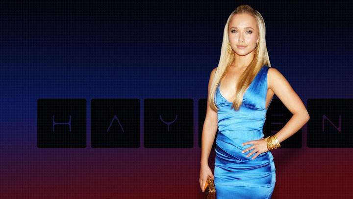 Hayden Panettiere Smiling In Blue Dress And Modeling Pose