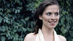 Hayley Atwell Smiling In Garden Face Closeup