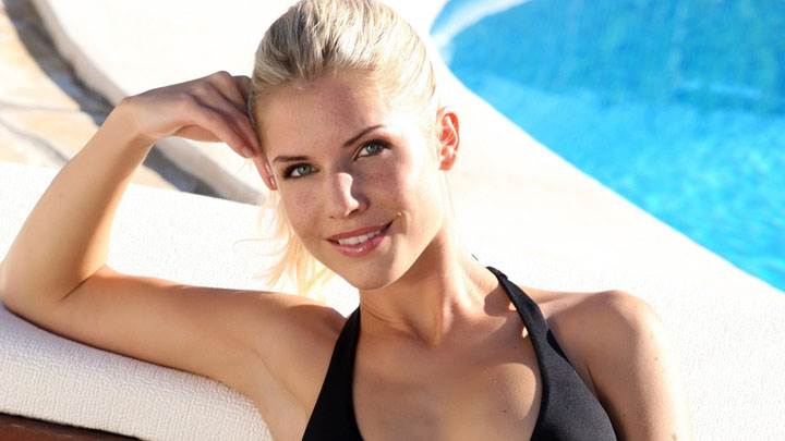 Iveta Vale Smiling In Black Bikini Looking Front
