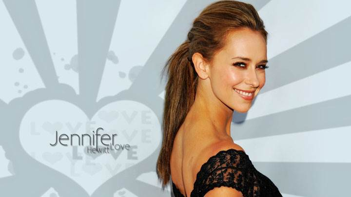 Jennifer Love Hewitt Smiling Looking Back In Black Dress