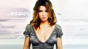 Jessica Biel In Grey Top Looking Front Pose
