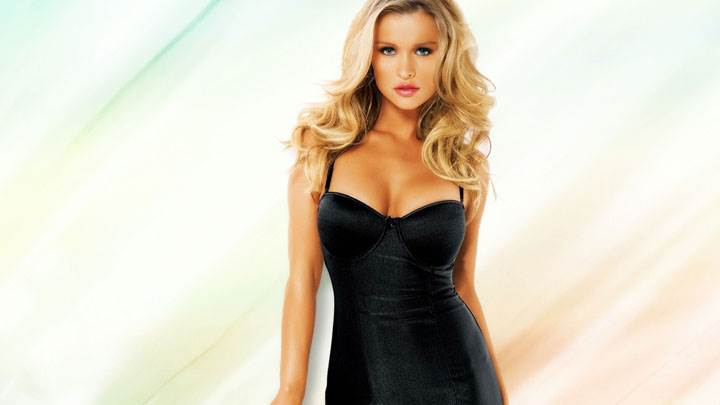 Joanna Krupa Looking Front In Black Long Dress And Golden Hairs
