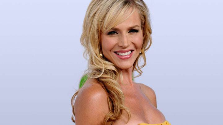 Julie Benz Smiling Pink Lips In Yellow Dress Side Pose
