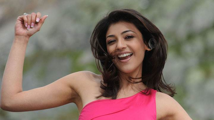 Kajal Aggarwal Laughing In Pink Dress And Wet Lips