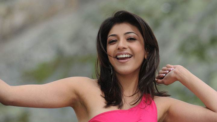 Kajal Aggarwal Laughing In Pink Dress