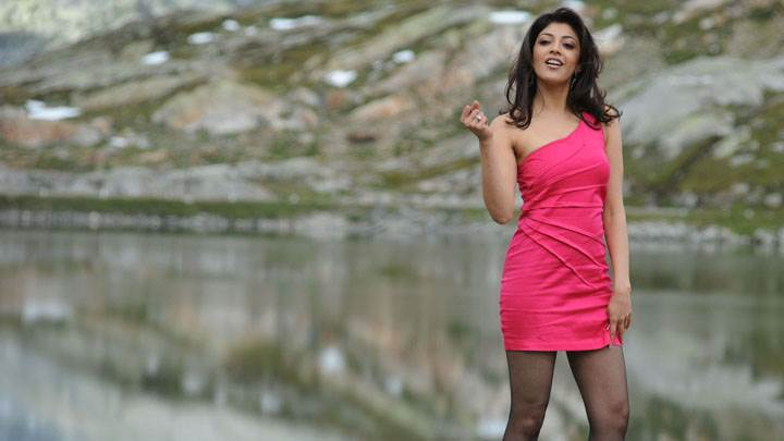 Kajal Aggarwal Near Sea Side In Pink Dress