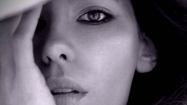 Kate Beckinsale Black And White Face Closeup