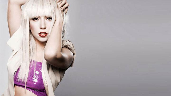 Lady Gaga In Red Lips And Purple Dress Photoshoot