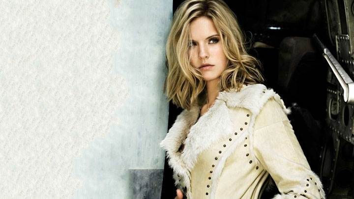 Maggie Grace In Coat Looking Side Photoshoot