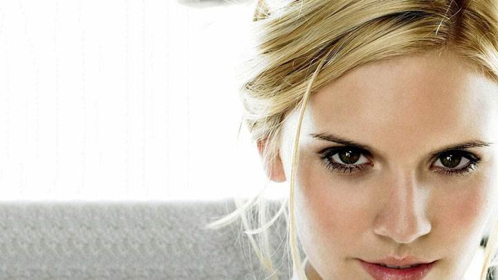 Maggie Grace Smiling Pink Lips And Cute Eyes Face Closeup