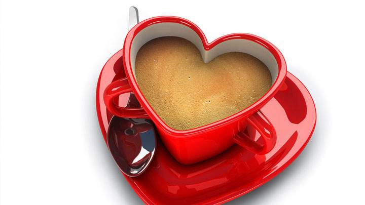 Morning Cofee in Red Heart Cup And Plate