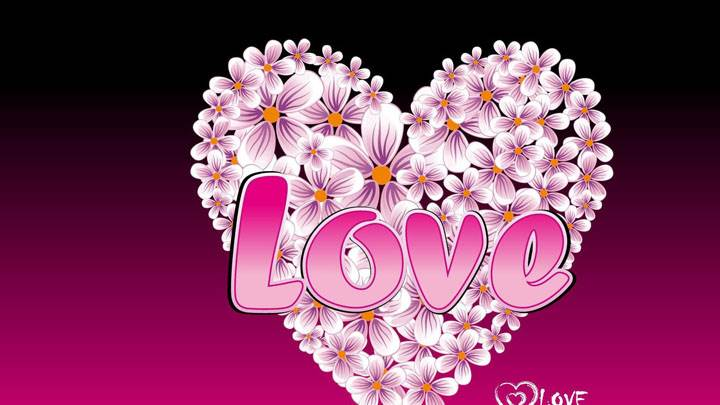 Pink Love Heart And Pink Background