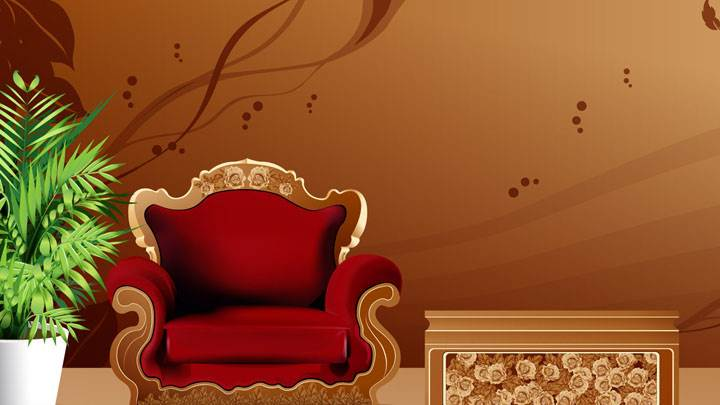 Red Sofa And Brown Digital Background