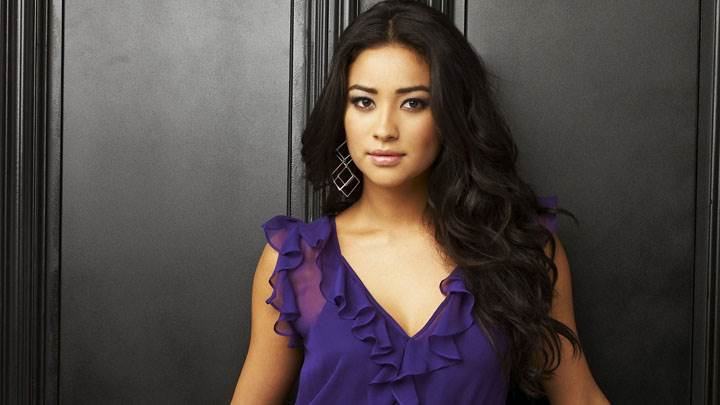 Shay Mitchell Smiling And Wet Lips In Blue Dress Photoshoot