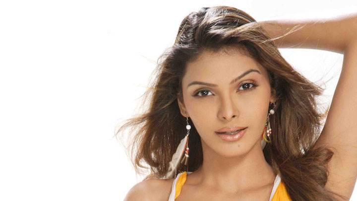 Sherlyn Chopra Looking Front In Yellow Dress And White Background