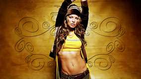 Stacy Ferguson In Yellow Top And Jacket And Hands Up Photoshoot