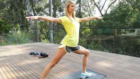 Stacy Keibler Doing Morning Exercise In Yellow Top