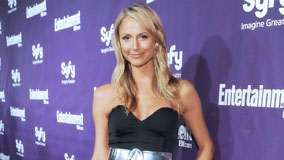 Stacy Keibler Smiling Wet Lips In Black Dress At Syfy Event