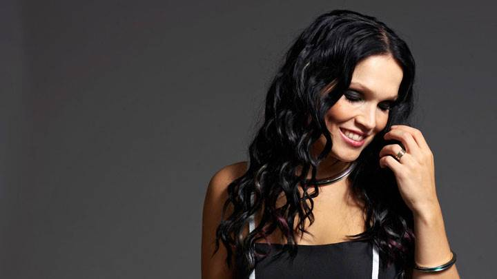 Tarja Turunen Smiling Close Eyes In Black Dress