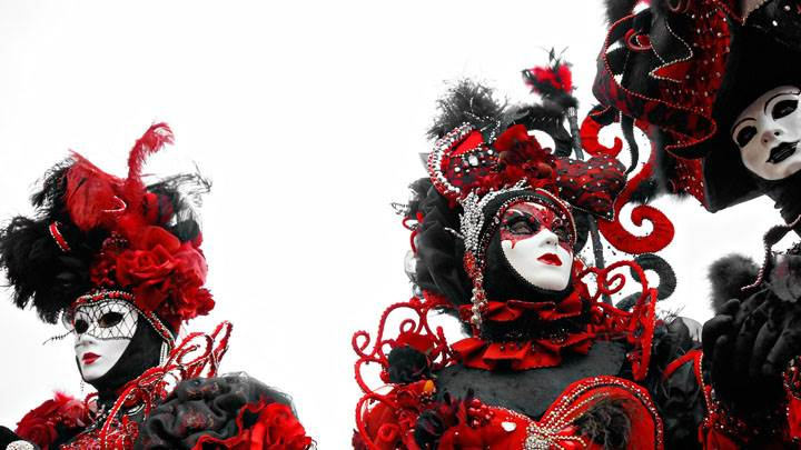 Three Mask Girls Black And Red Dress And White Background