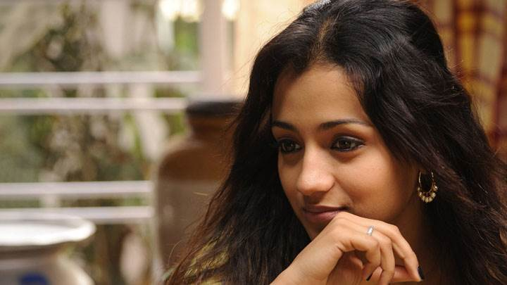 Trisha Krishnan Smiling Innocent Face Sitting Pose