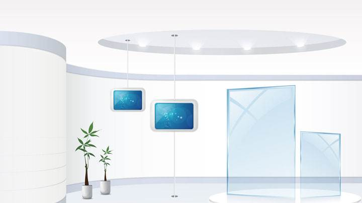 White Background And Hanging Display in Office