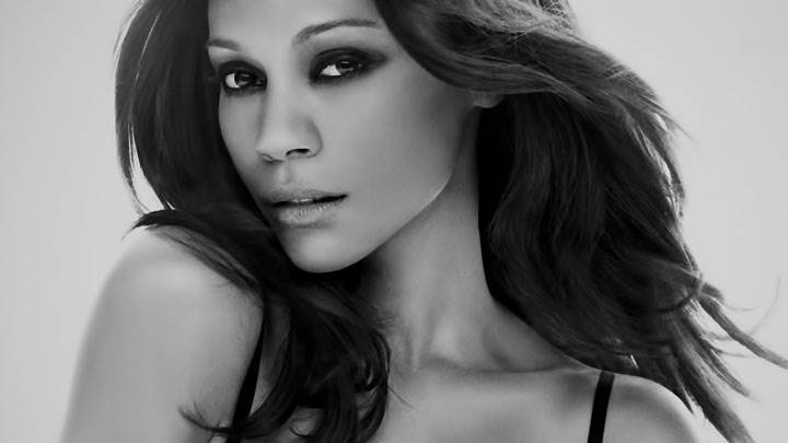 Zoe Saldana Black And White Face Closeup