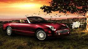 2005 Ford Thunderbird In Red Side Pose In Garden