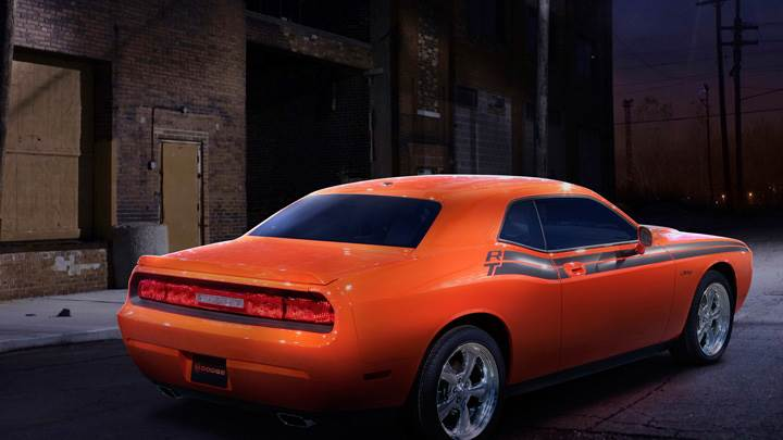 2009 Dodge Challenger RT Classic In Orange Side Back Pose