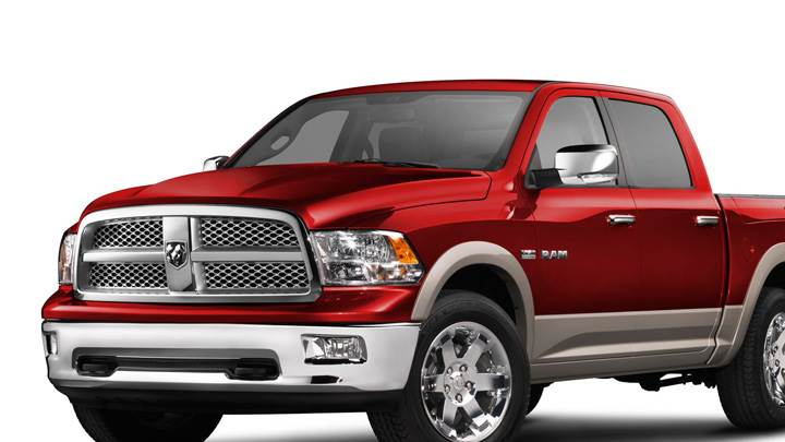 2009 Dodge Ram 1500 Laramie In Red Side Front Pose N White Background