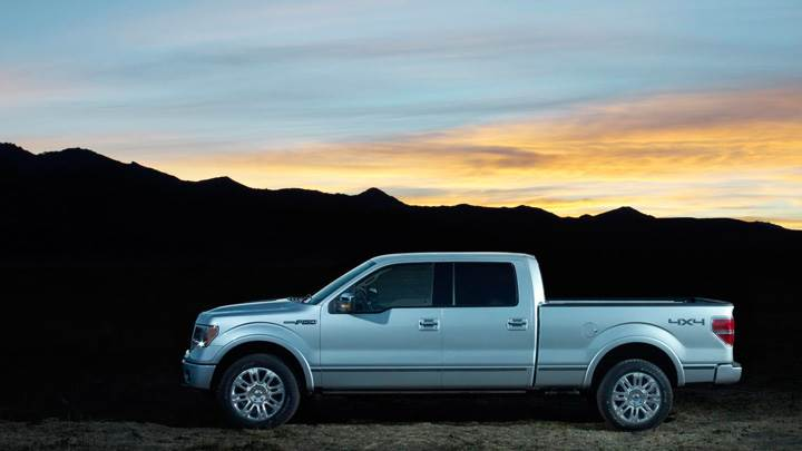 2009 Ford F-150 Platinum In Metalic Silver Side Pose
