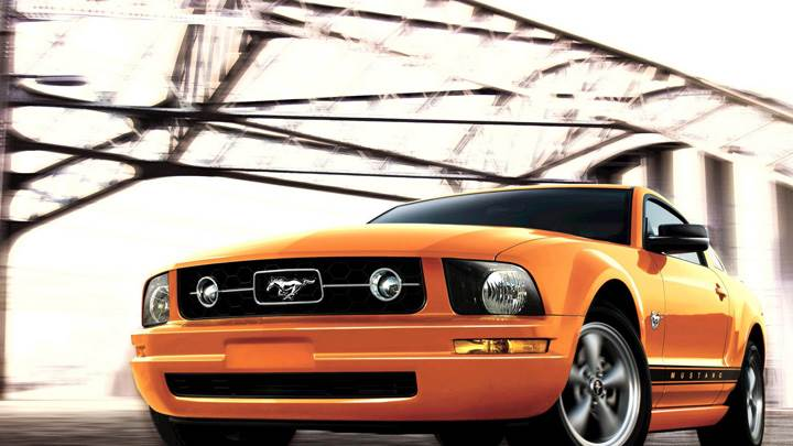 2009 Ford Mustang Front Pose In Orange