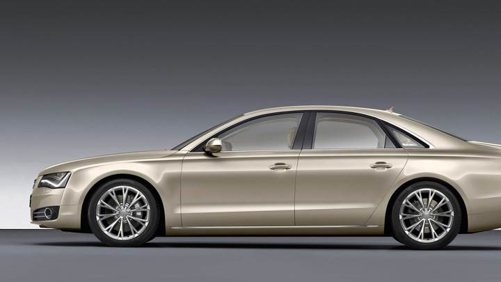 2011 Audi A8 Side Pose In Golden