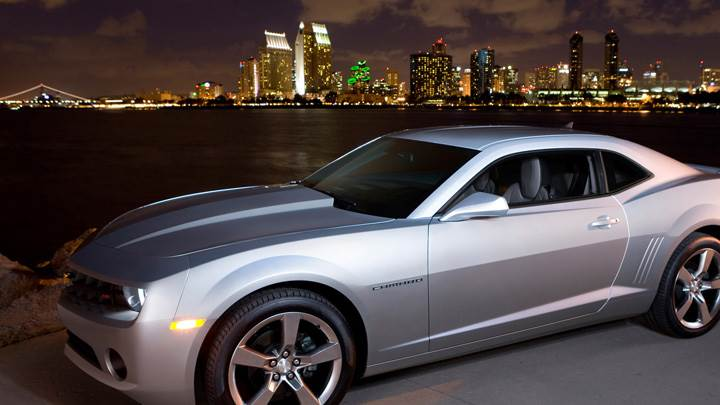 2011 Chevrolet Camaro Silver Standing Near Sea Side