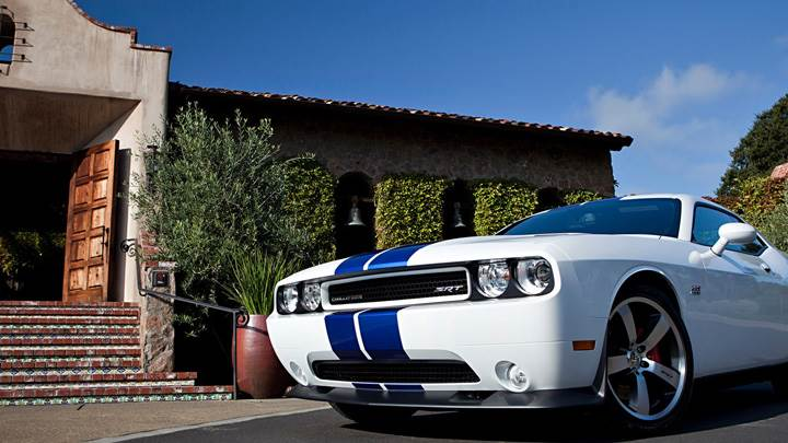 2011 Dodge Challenger SRT8 Front Pose in White Outside The Home