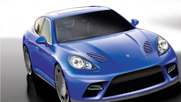 9ff Porsche Panamera Turbo Front Pose in Blue